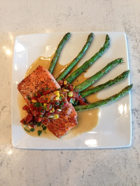 Wild Salmon With Grilled Asparagus and Roasted Corn & Tomato Salsa