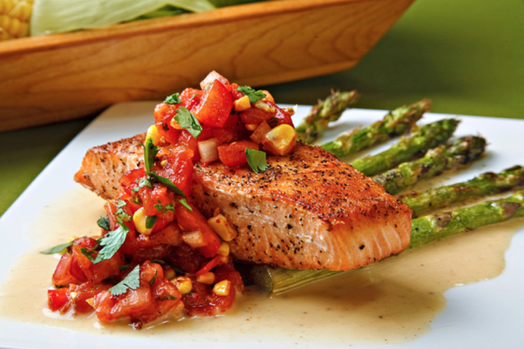 Roasted Tomato and Corn Salsa with Asparagus over Salmon